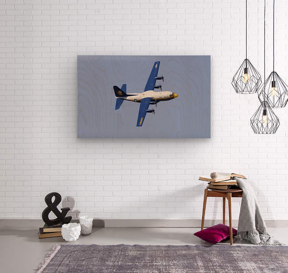 A C-130 Hercules of the Blue Angels flight demonstration squadron.  Wood print