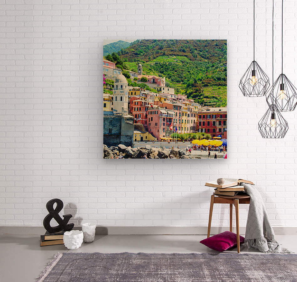 Colorful village of Cinque Terre  Wood print