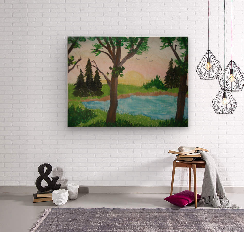 Sunset over the pond  Wood print