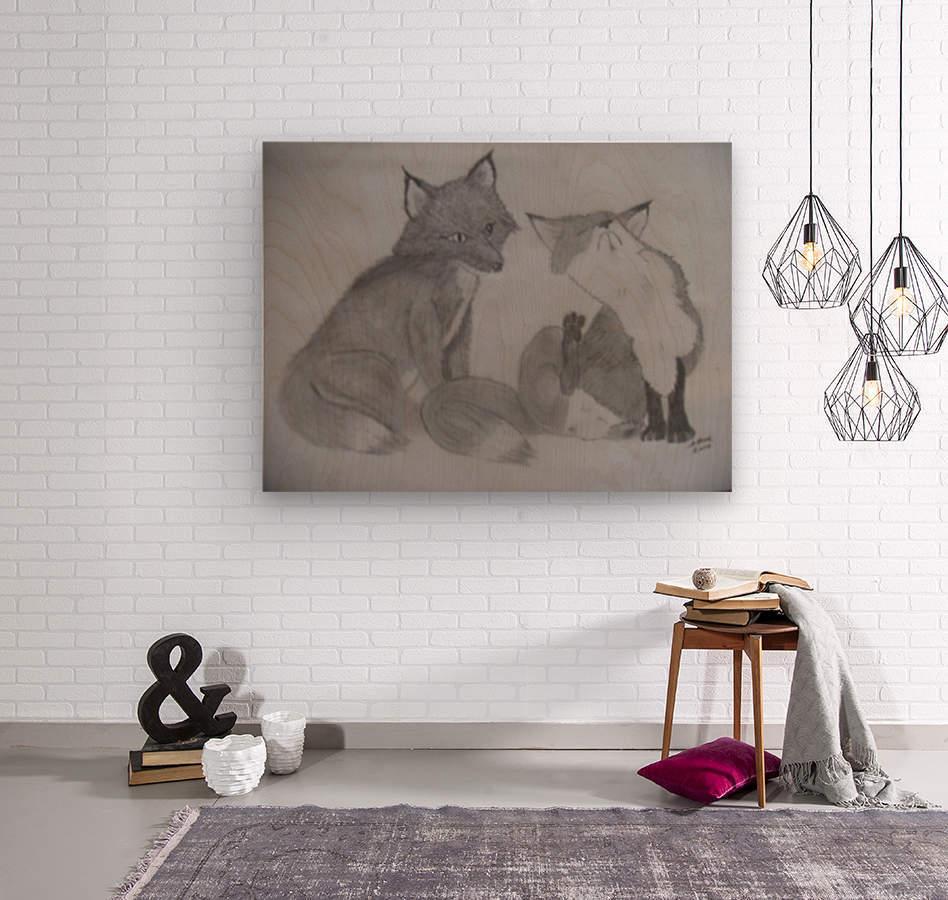 Fox Pair  Wood print