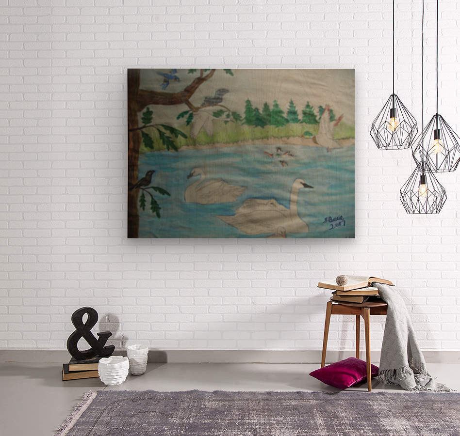 Swan Pond  Wood print