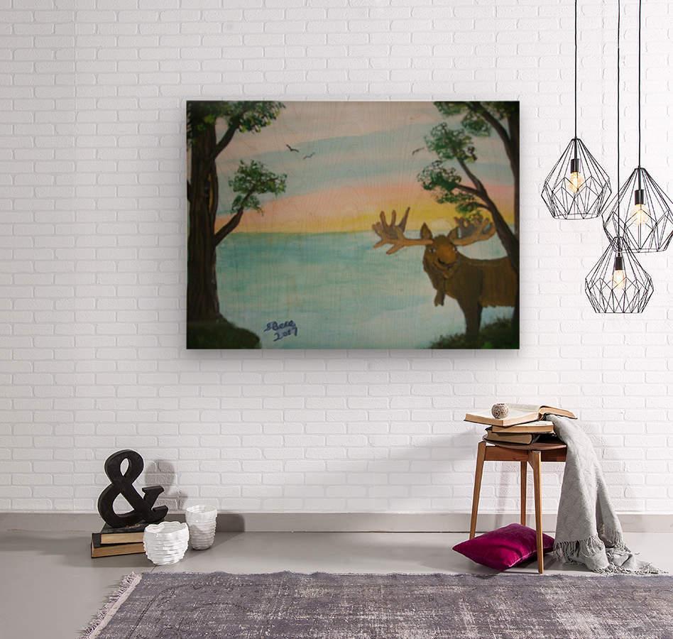 Maine Moose  Wood print