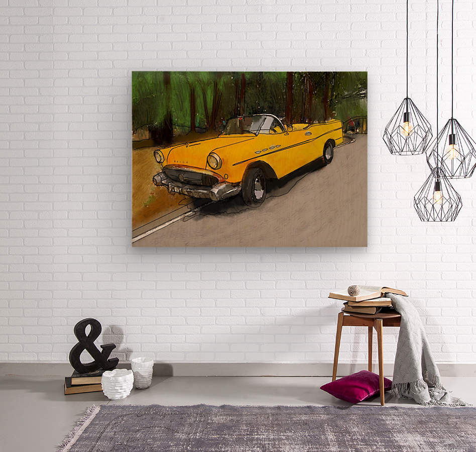 Cuba Yellow Car  Wood print