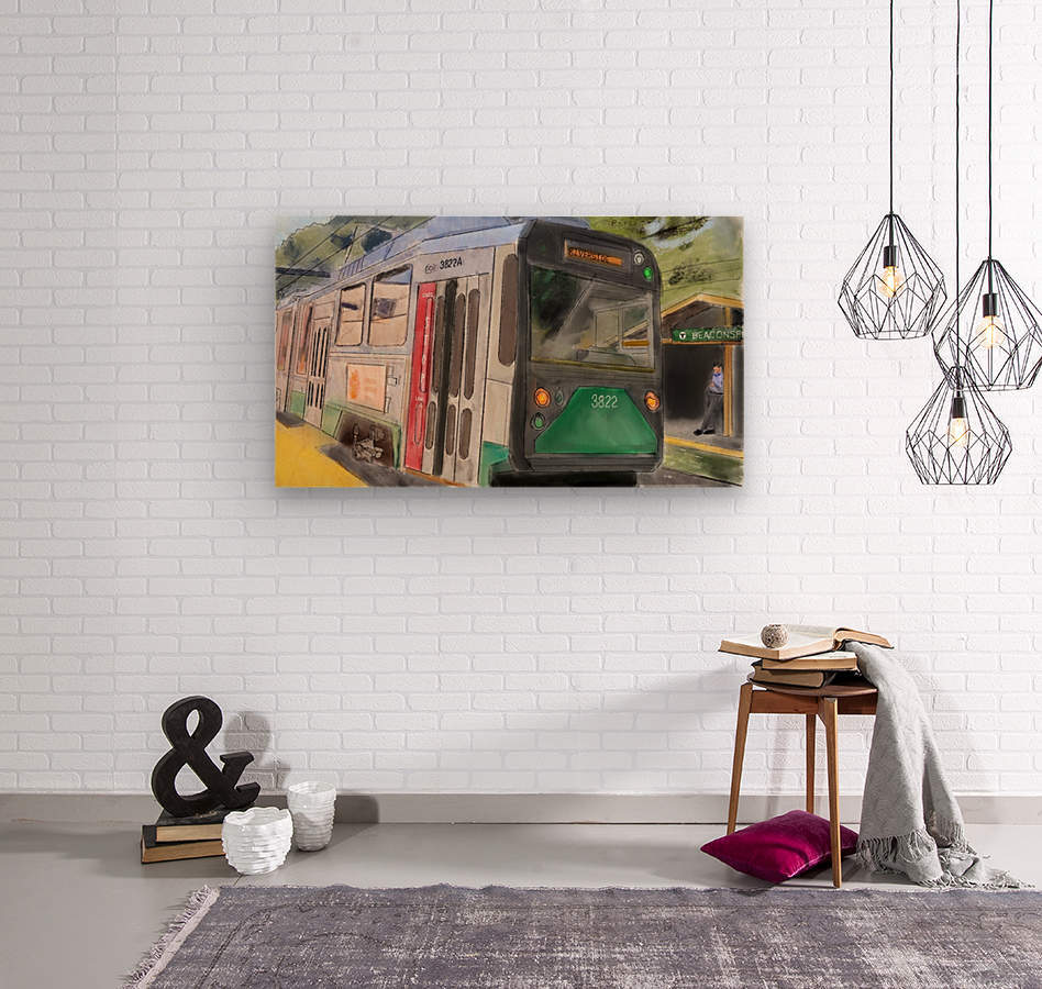 MBTA Green Line Trolly  Wood print