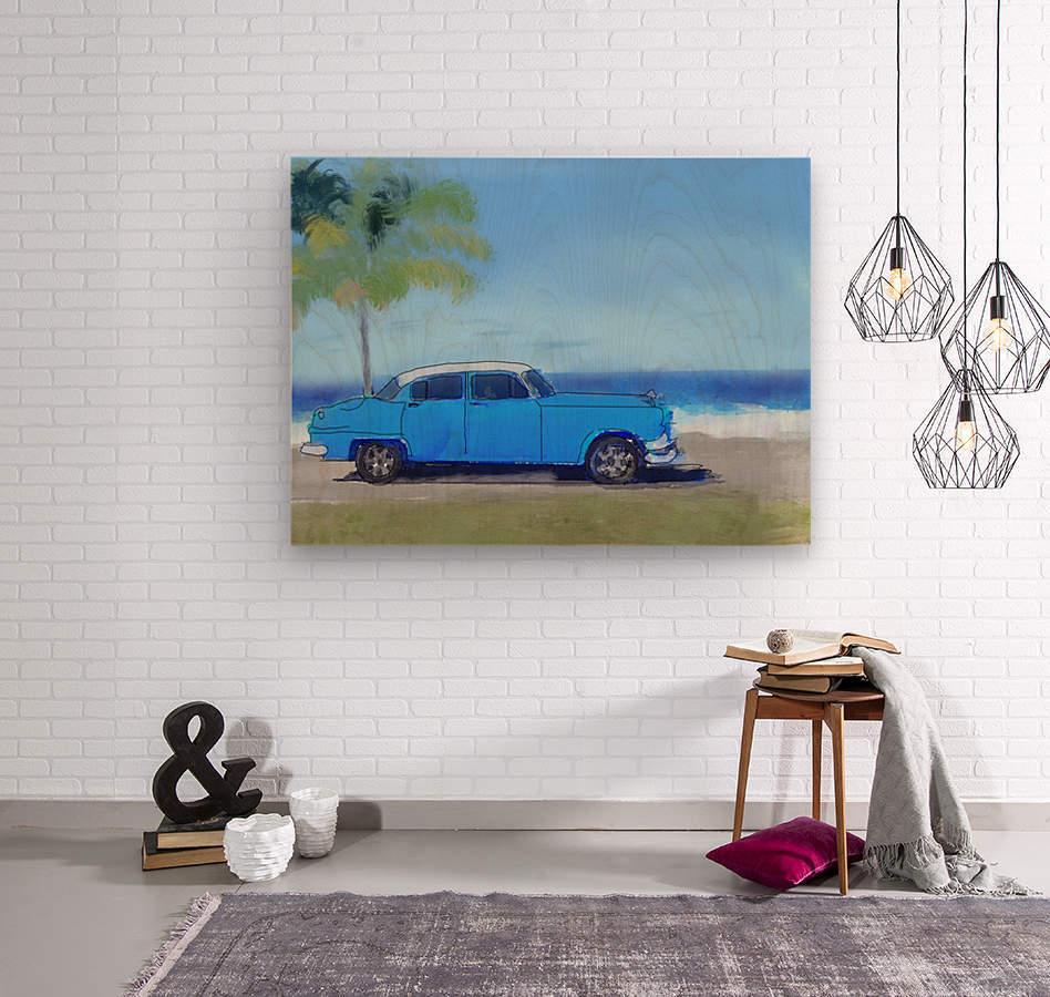 Cuba Blue Car  Wood print