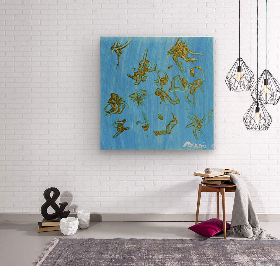Gold and Blue. Marnie P  Wood print