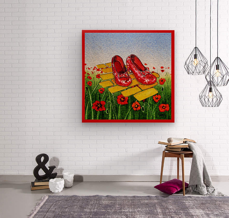 Ruby Slippers Yellow Brick Road Red Poppies Field  Wood print