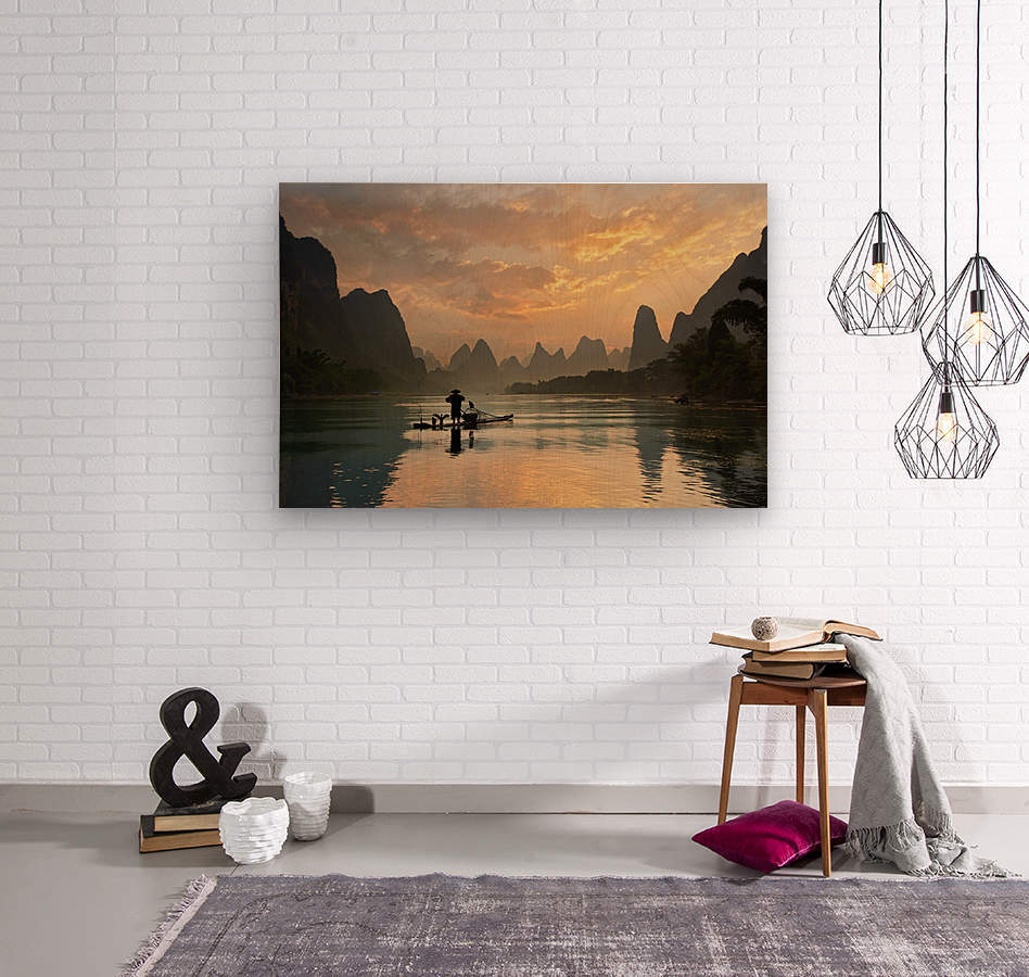 Golden Li River  Wood print