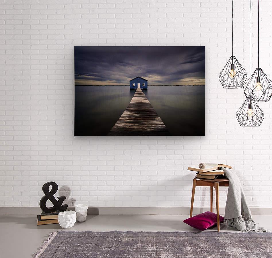 The Blue Boatshed  Wood print