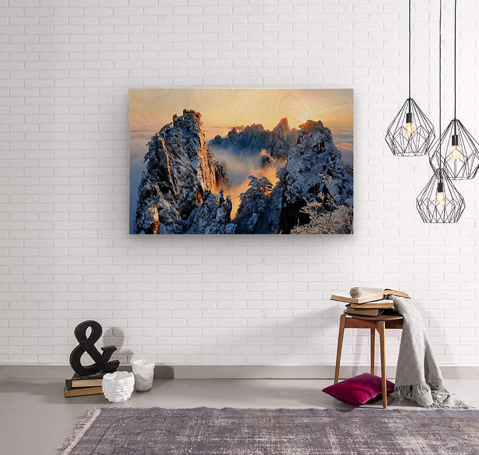 Sunrise at Mt. Huang Shan  Wood print