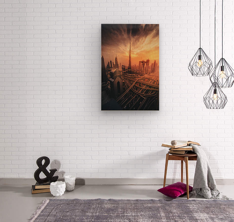 Dubai's Fiery sunset  Wood print