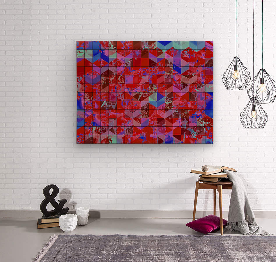 geometric square and triangle pattern abstract in red and blue  Wood print