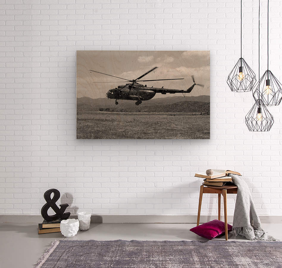 A Macedonian MI-17 helicopter landing as part of a medical transport flight.  Wood print