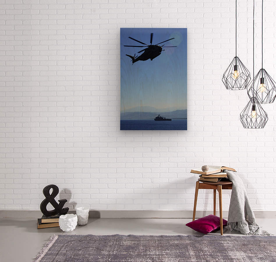 A CH-53E Super Stallion helicopter.  Wood print