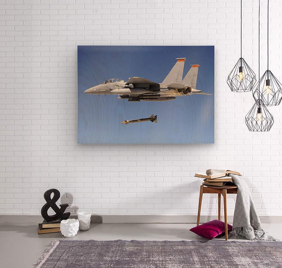 An F-15E Strike Eagle drops a GBU-28 bomb during a Combat Hammer mission.  Wood print