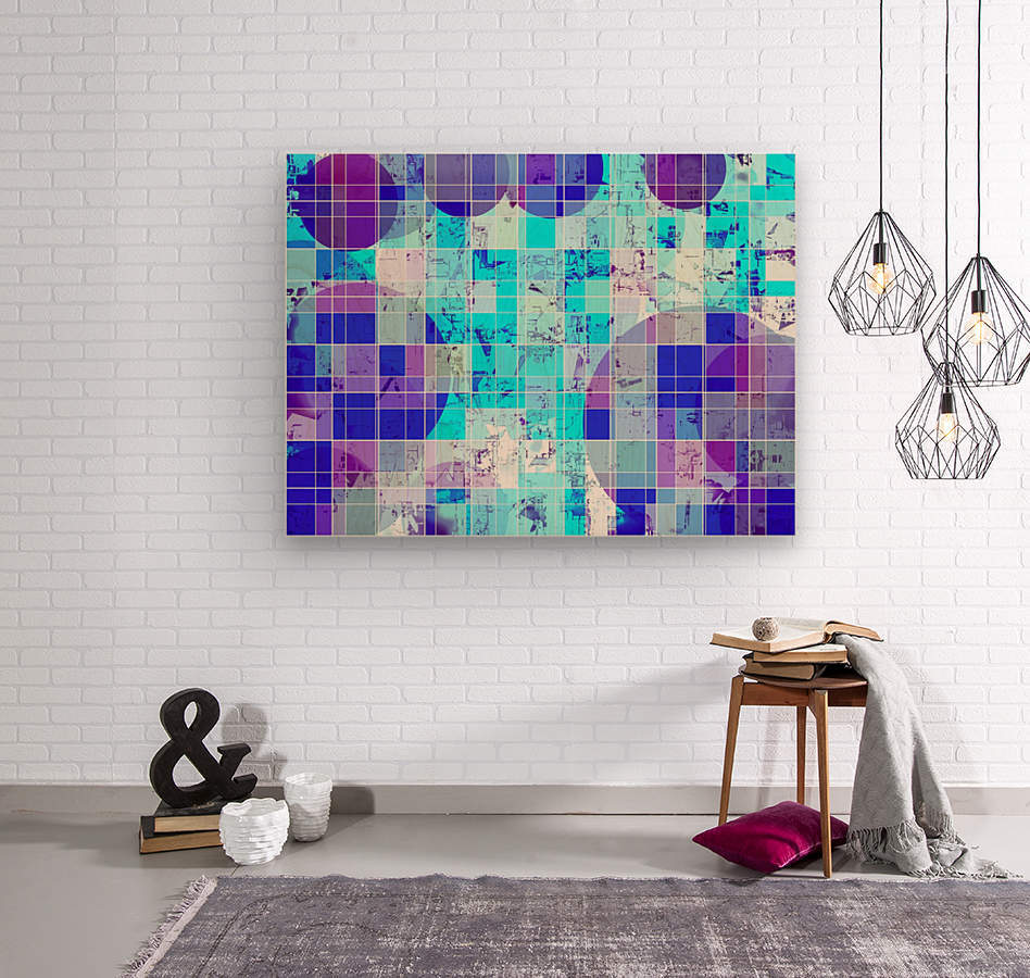 geometric square and circle pattern abstract in blue  Wood print