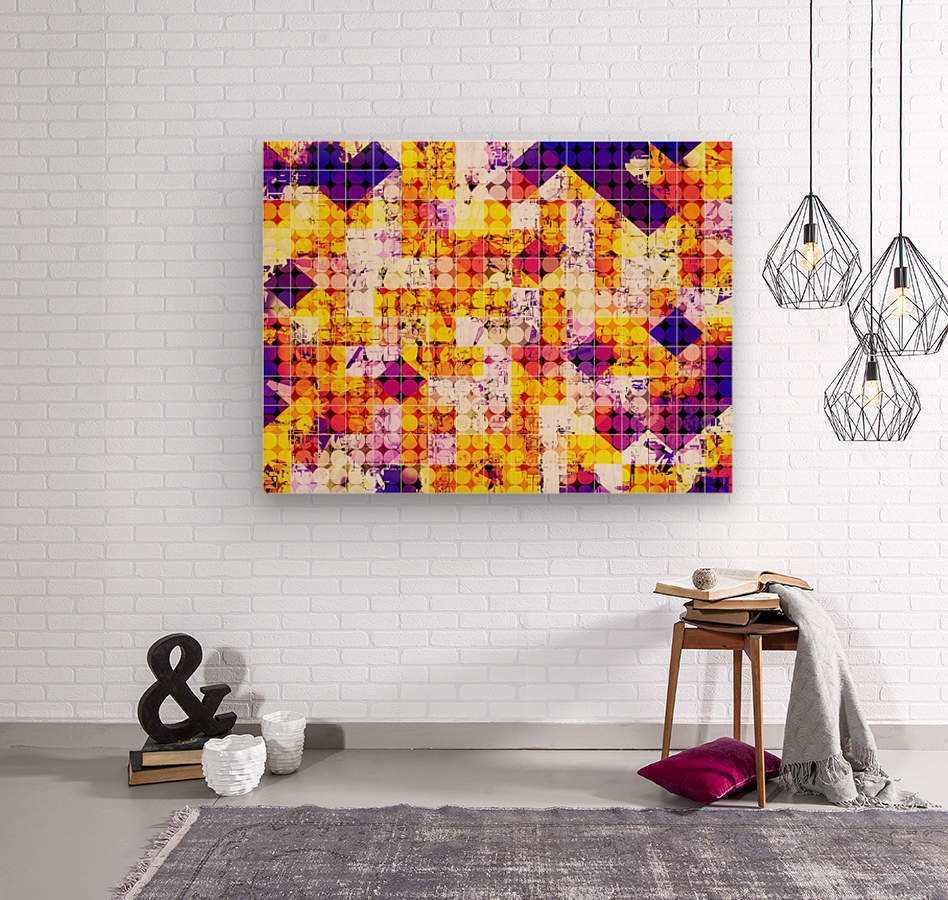 geometric square and circle pattern abstract in orange blue  Wood print