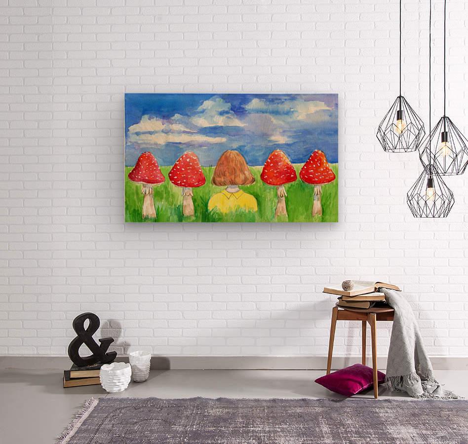 Mushroom Girl   Wood print