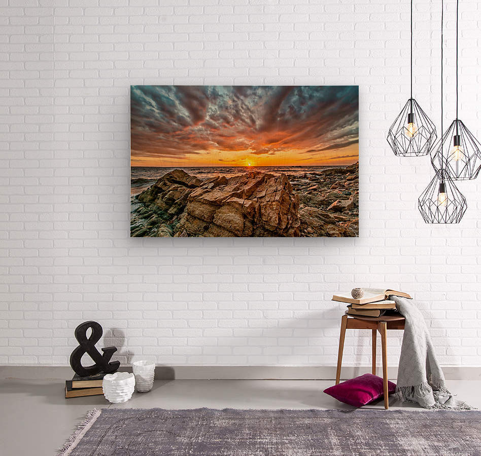 Rocks and Sunset  Wood print