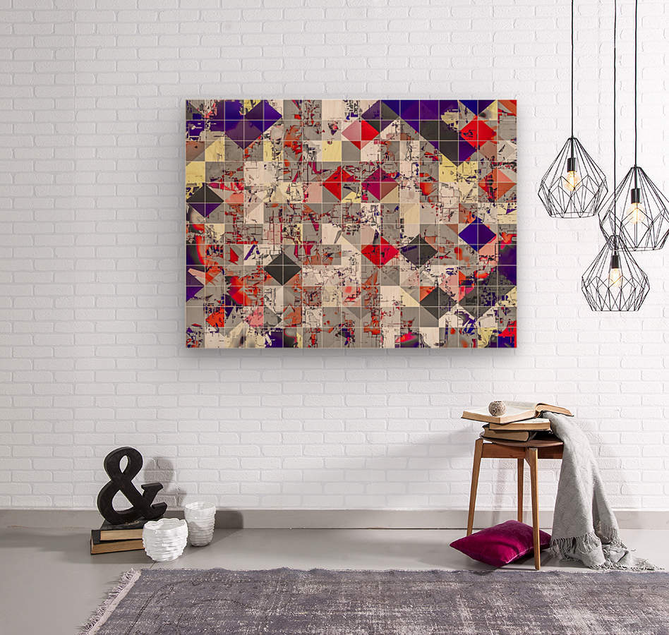 geometric square pixel pattern abstract in purple orange red  Wood print