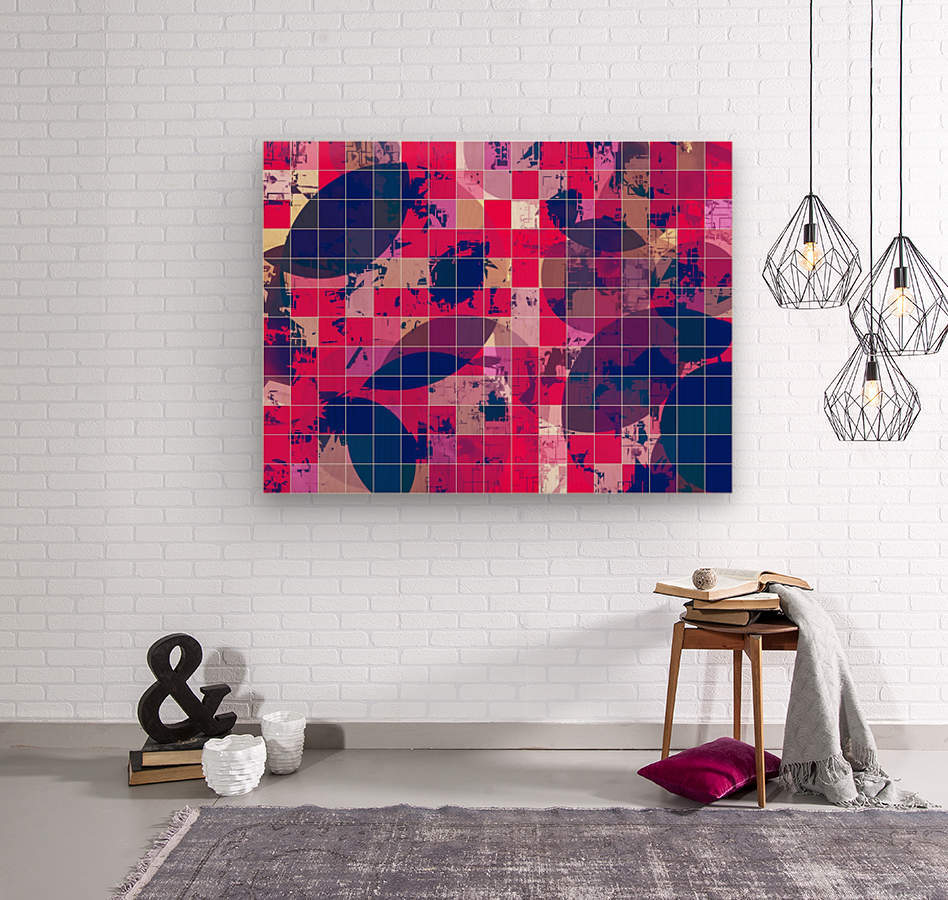 geometric square and circle pattern abstract background in red pink blue  Wood print
