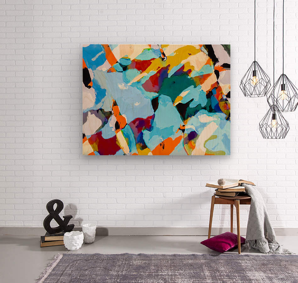painting texture abstract in blue orange green yellow  Wood print