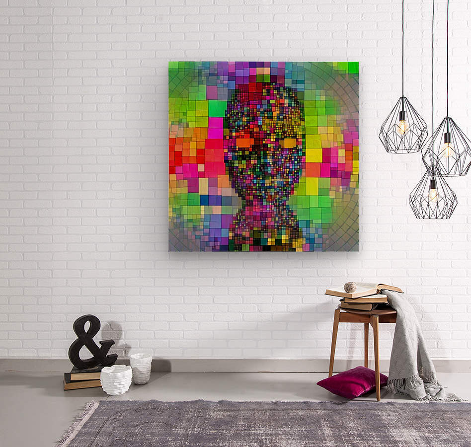 Mysterious Colorful Mask  Wood print
