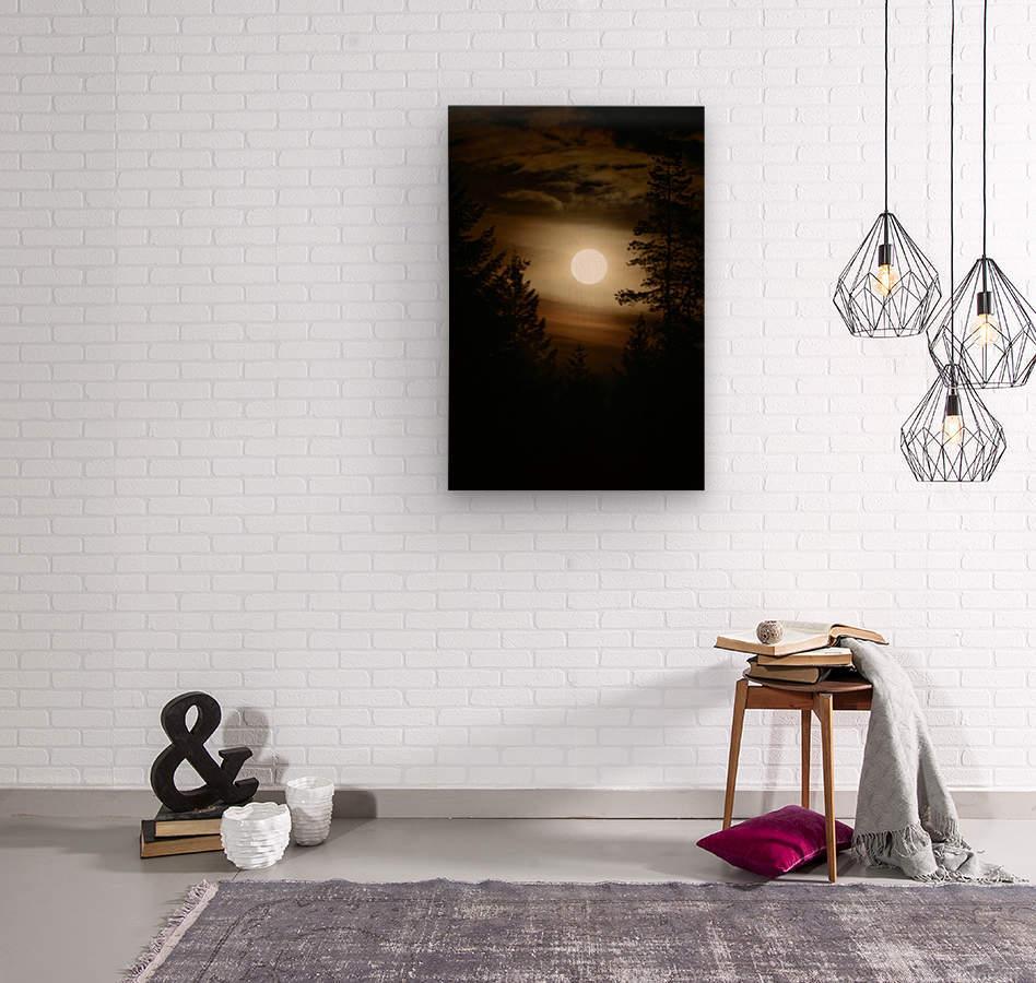 Moody moon  Wood print