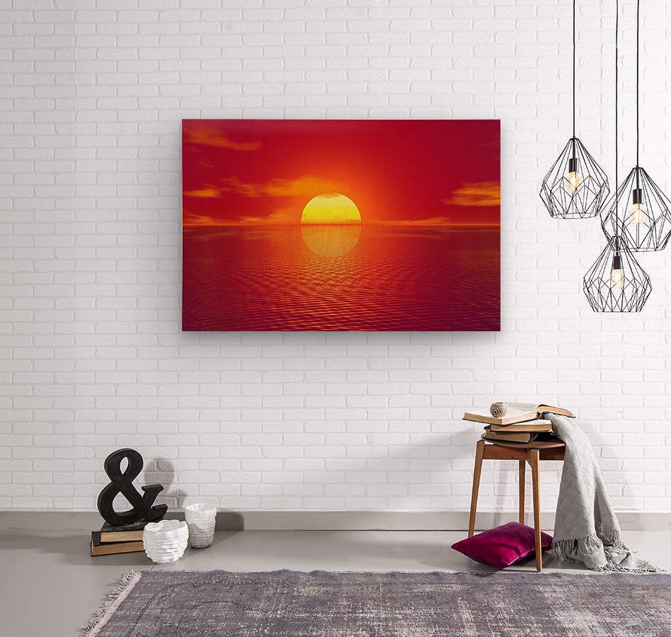 Beautiful Nature Landscape sunrise sunset sun Photography landscape photo Scenery  Wood print