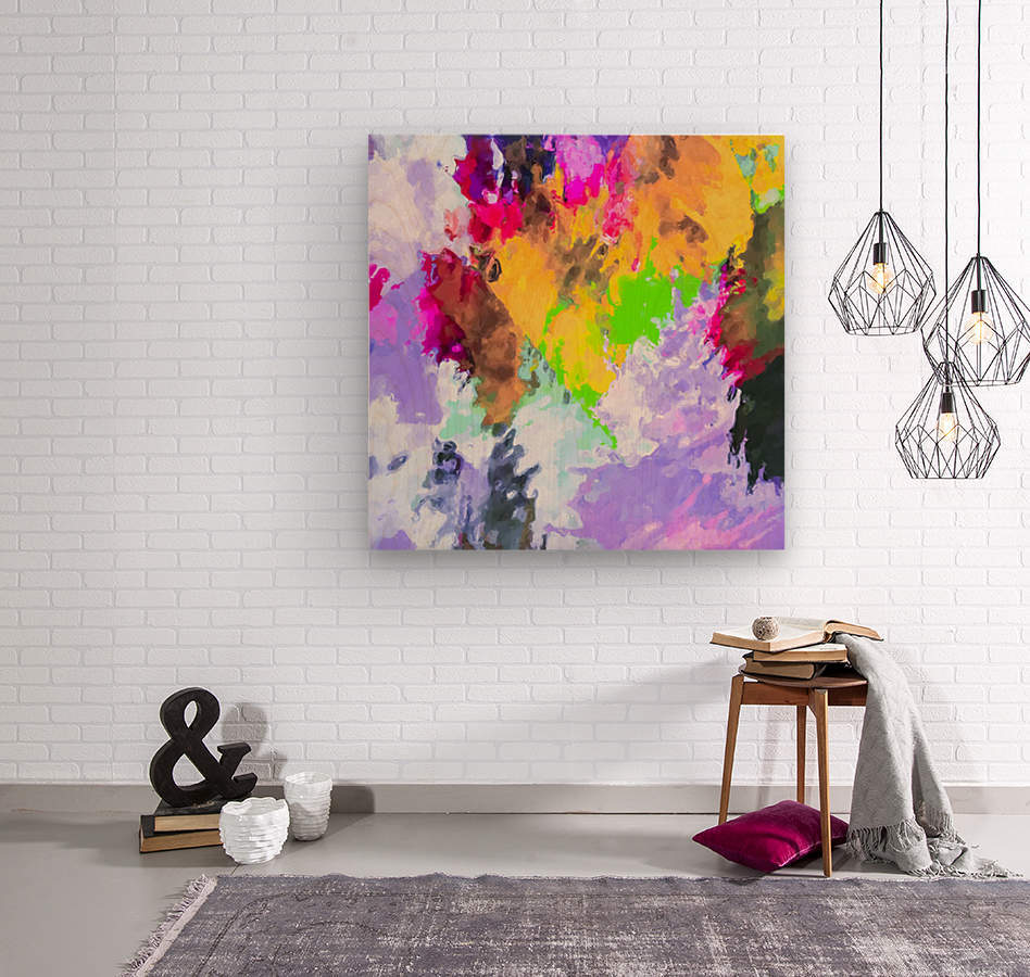 painting texture abstract background in purple yellow green pink  Wood print