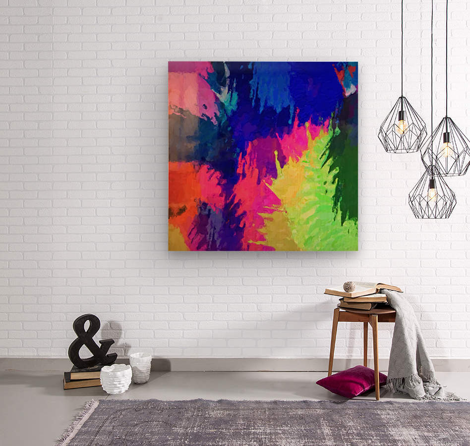 painting texture abstract background in blue pink yellow green  Wood print