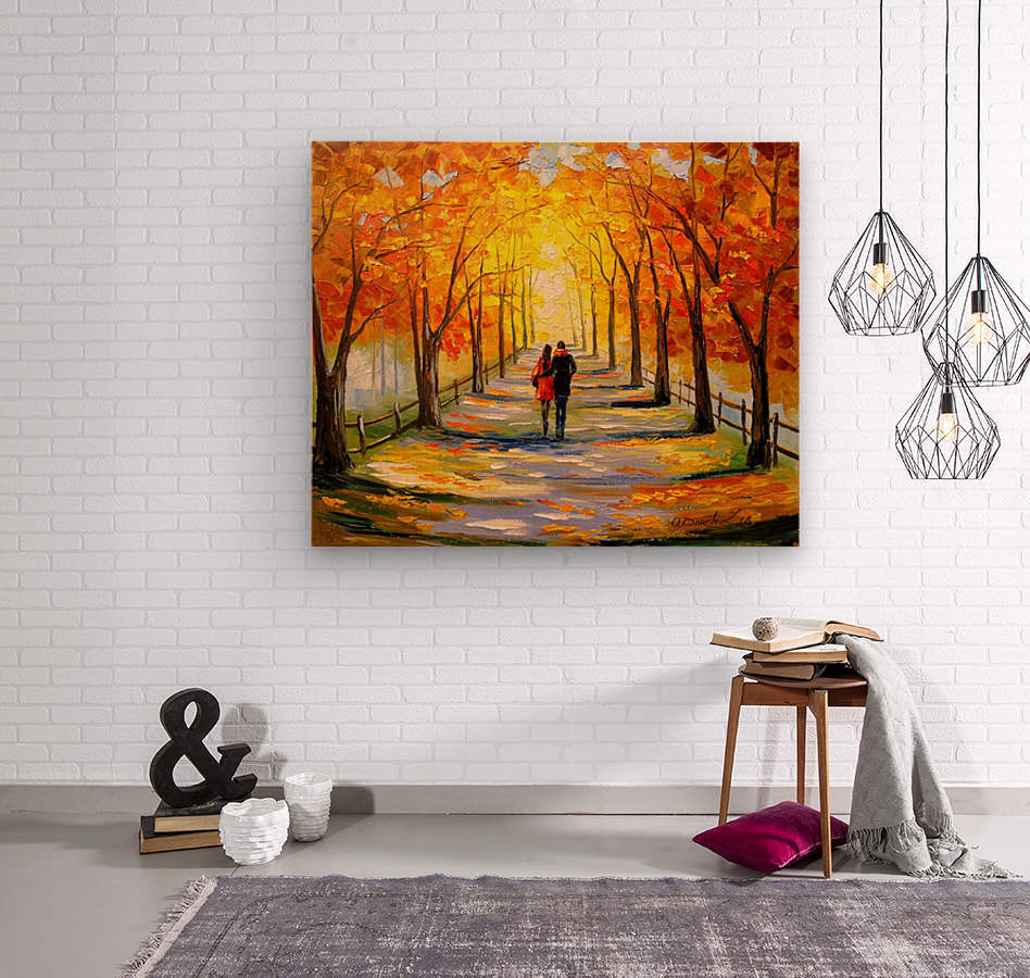 A walk in sunny weather  Wood print