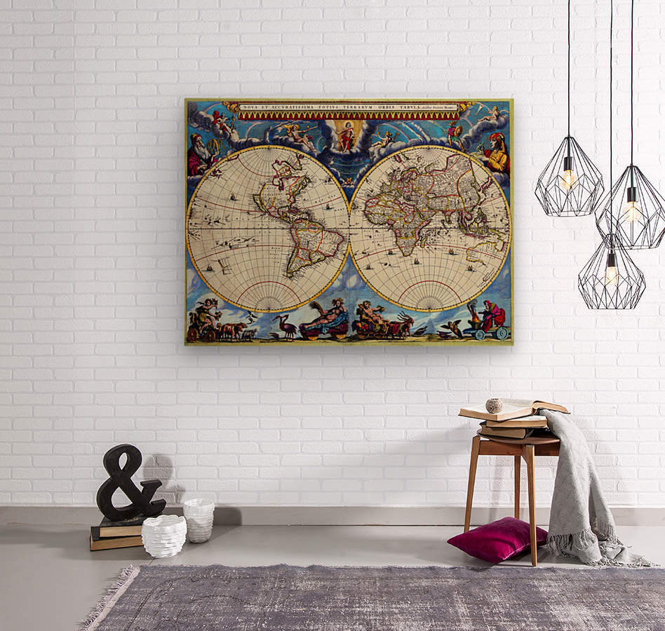 Antique map old map history globe earth maps historical map drawing old map of the world   Wood print
