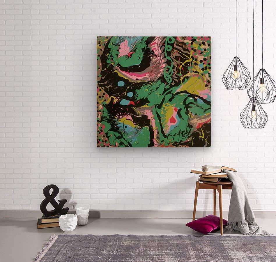 Fantasy Noir Green  Wood print