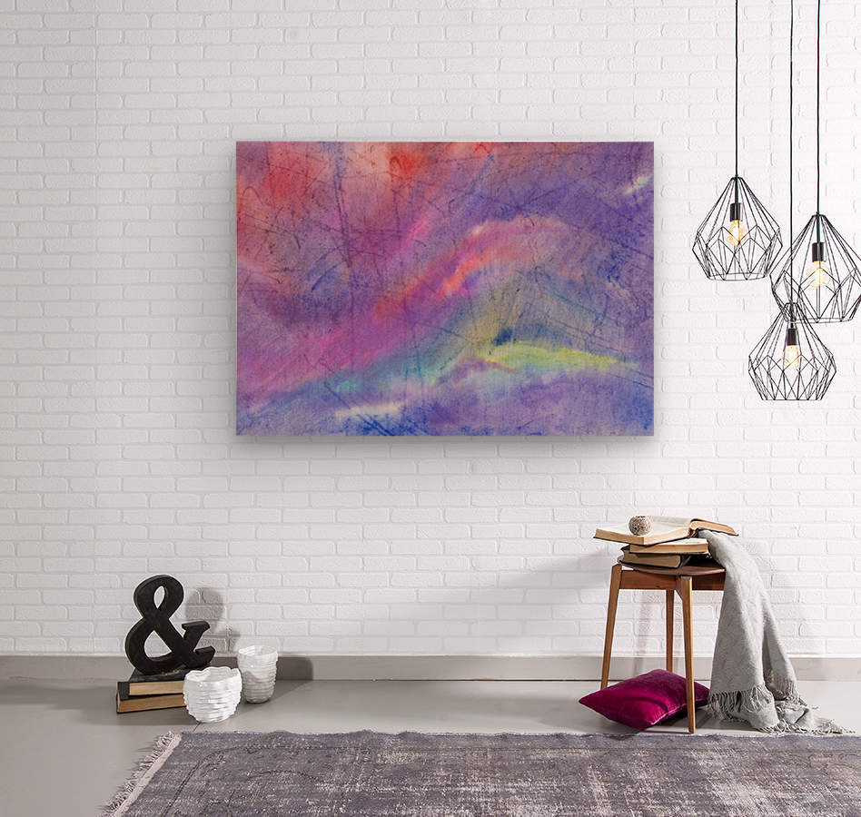 Abstract Mauve wave  Wood print