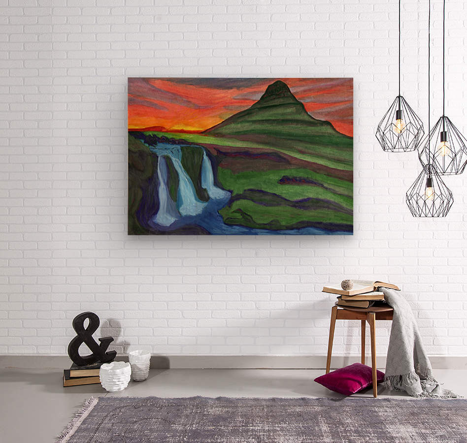Mountain And Waterfall In The Rays Of The Setting Sun  Wood print