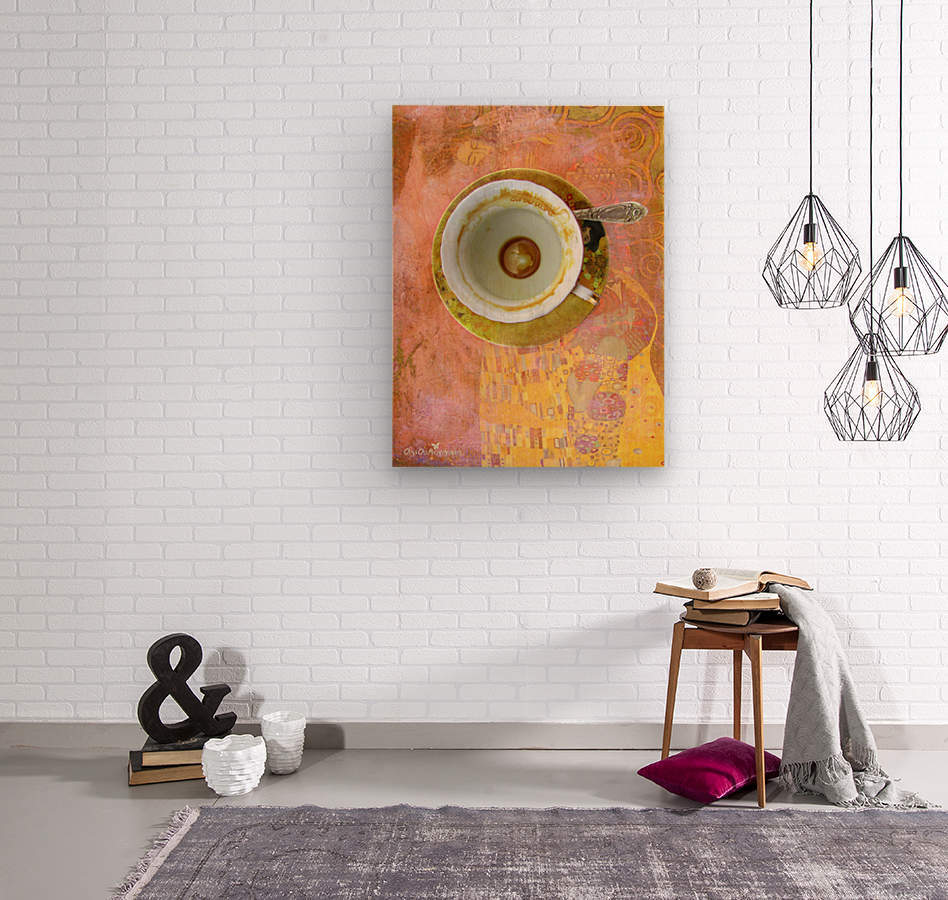 Coffee with Klimt  Wood print