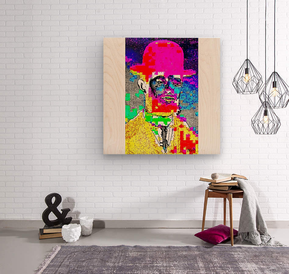 Man with the Pink Bowler Hat by neil gairn adams   Wood print
