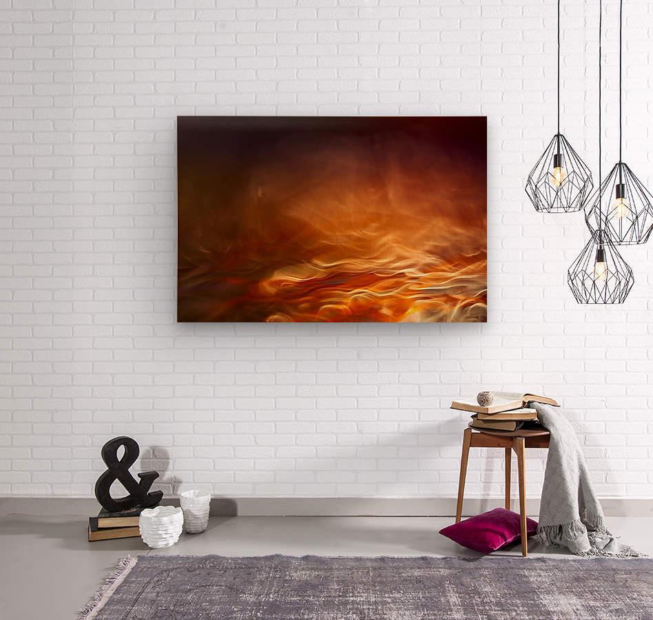 Burning water  Wood print