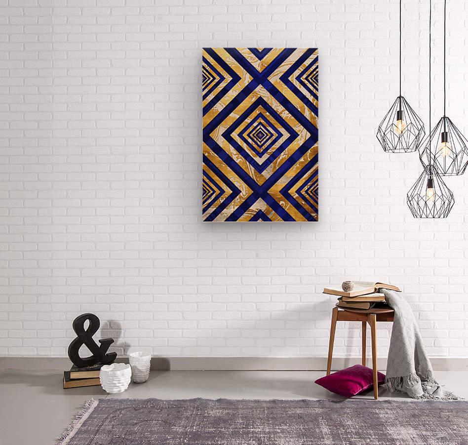 Geometric Gold Dark Blue Marble  Wood print