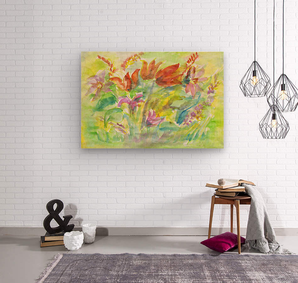 Flowers in the sunny meadow  Wood print