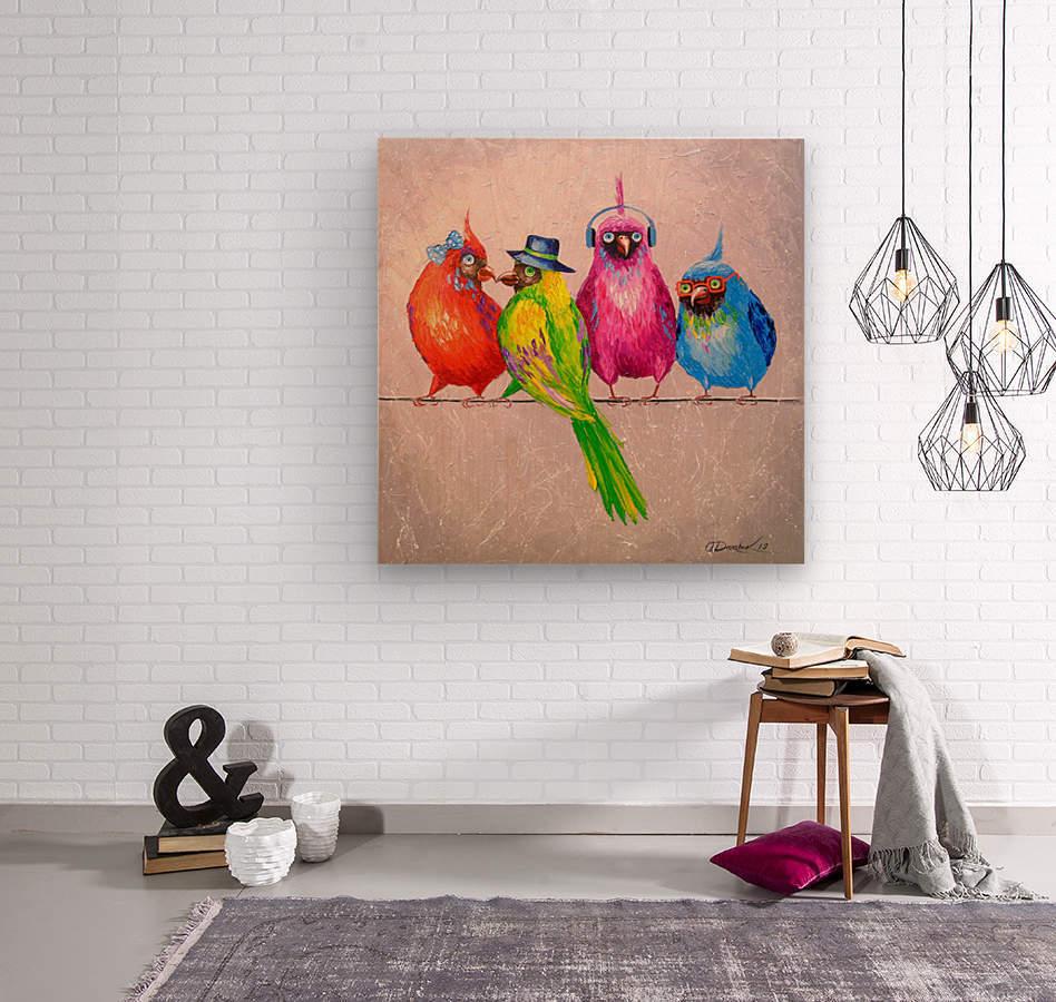 Cheerful company  Wood print