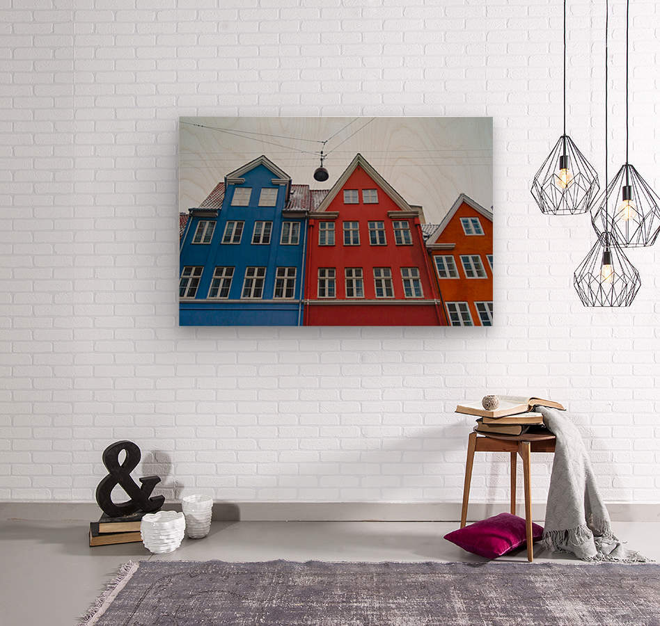 The red and blue house in Copenhagen  Wood print