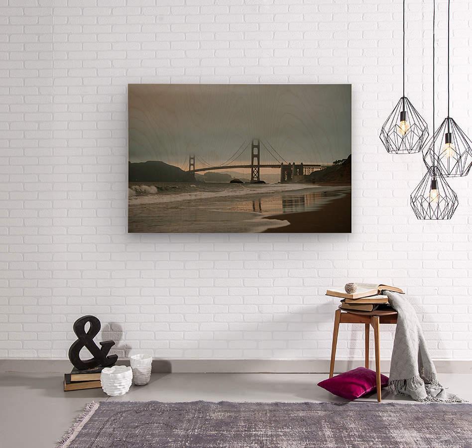 Golden Gate in the smog  Impression sur bois
