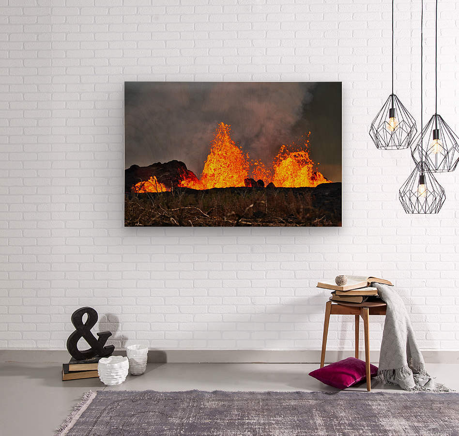 Leilani Estates Lava fountain  Wood print