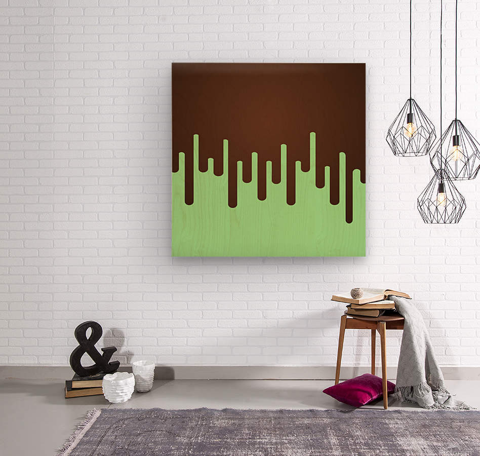 Mint Choc Melting Ice Cream  Wood print