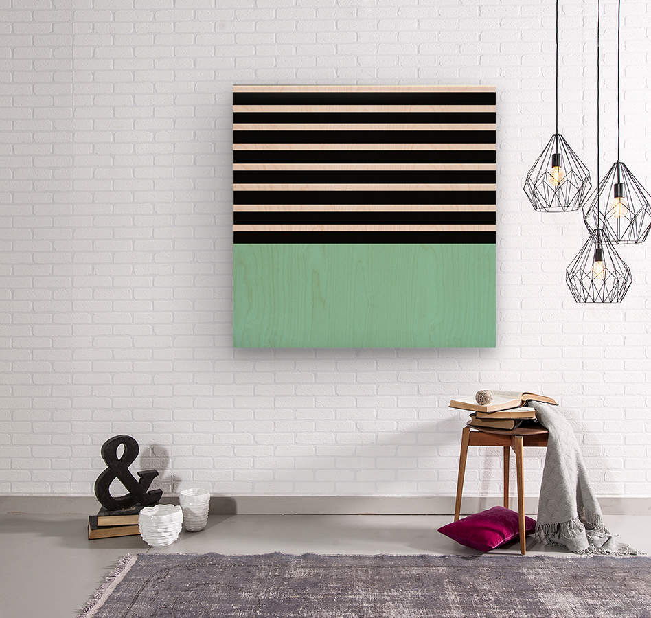 Black & White Stripes with Aquamarine Patch  Wood print