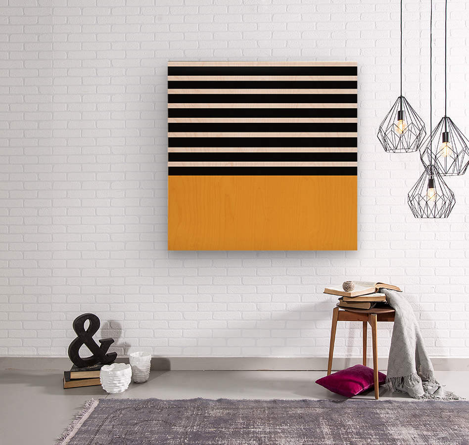 Black & White Stripes with Honey Patch  Wood print