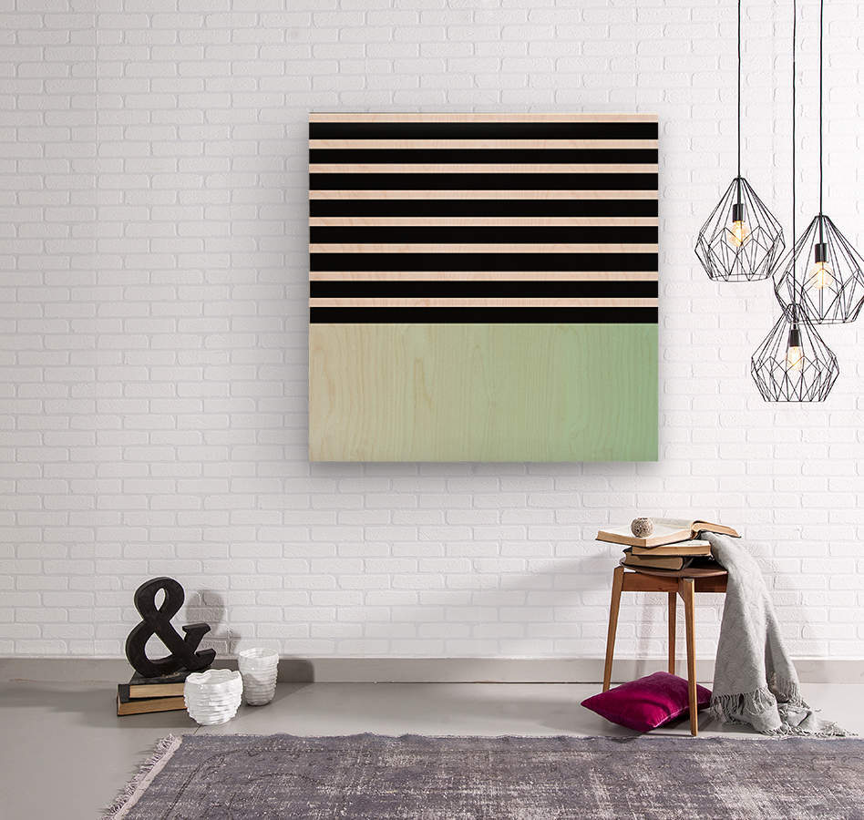 Black & White Stripes with Green Patch  Wood print