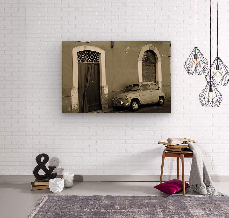 Vintage Car in Black and White  Wood print